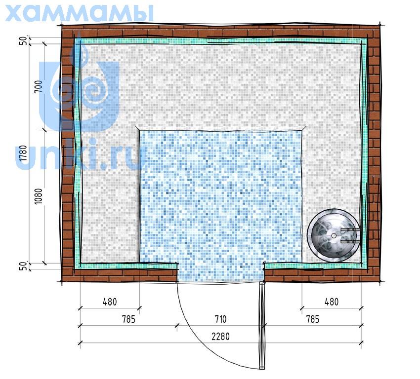 План хаммама 2,38х1,88 м.